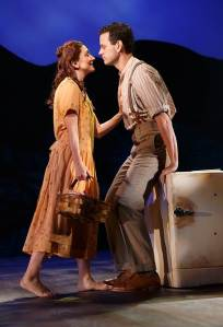 Carmen Cusack as Alice Murphy and Wayne Alan Wilcox as Jimmy Ray Dobbs with the cast of the world premiere of Bright Star, a new American musical with music by Steve Martin and Edie Brickell, lyrics by Brickell, book by Martin, based on an original story by Martin and Brickell, and directed by Tony Award winner Walter Bobbie, Sept. 14 - Nov. 2, 2014 at The Old Globe. Photo by Joan Marcus.