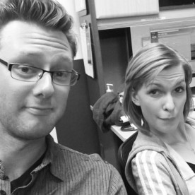 WRITERS BOX--Liv and Brad stand by at rehearsal for any needed edits. They developed scripts based on MFA research.