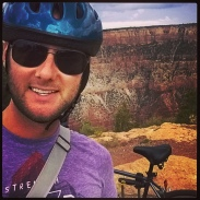 From Tempe, I crossed Route 66 to continue north to the Grand Canyon. I biked along the South Rim. (8/14/14)