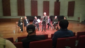 A panel discussion wrapped up each day. Here, Kim Moke moderates a roundtable discussion on 'Music Theatre Training Across Australsia.'