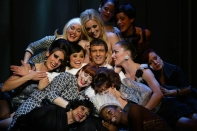 Antonio Banderas surrounded by his harem in the 2003 Roundabout production of Nine.